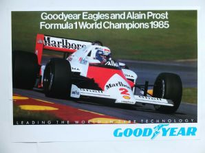 "McLAREN TAG TURBO Alain Prost 1985 F1 World Champion GOOD YEAR poster 23x16""(610x400mm)"